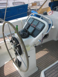 Bavaria 34 yacht showing repeaters in the cockpit