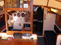 Bowman 36 classic sailing yacht, the warm and cosy interior has plenty of storage and comfortable sea berths