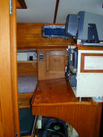 Cheoy Lee custom offshore cutter for sale - nav station / chart table