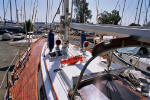 Cheoy Lee custom offshore cutter for sale - teak deck