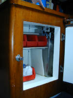 Cheoy Lee custom offshore cutter for sale - fridge in galley