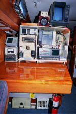 Cheoy Lee custom offshore cutter for sale - nav station